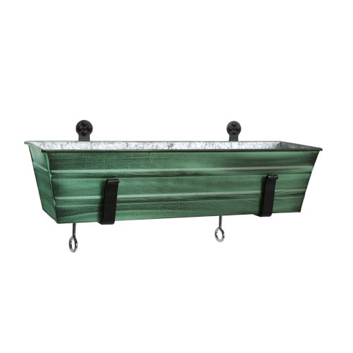 Green Patina 22-Inch Flower Box with Clamp-On Bracket
