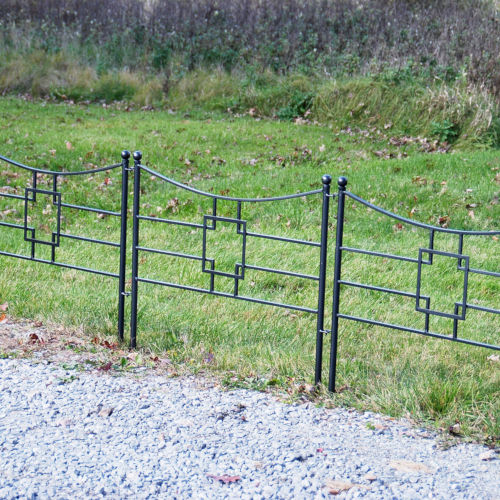 Graphite Powdercoat Square-on-Square Fence Section, Set of Four