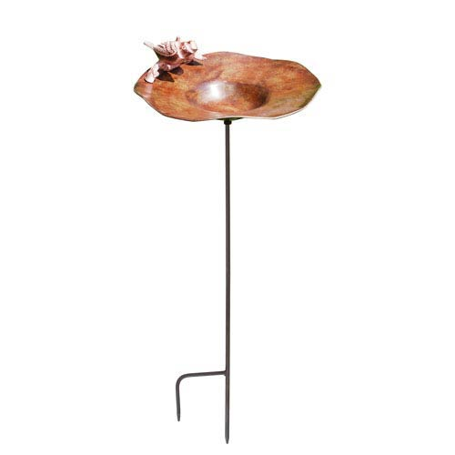 Antiqued Birdbath w/ Birds with stand
