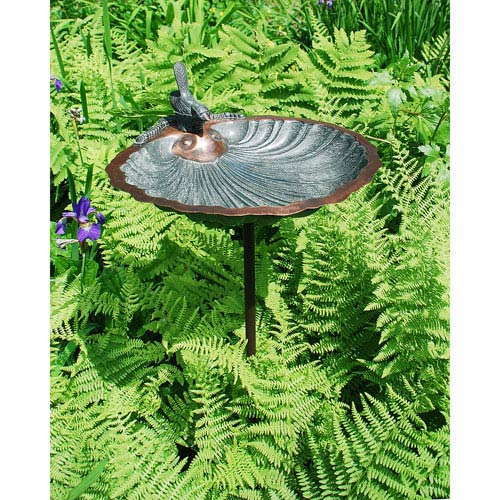 ACHLA Designs Scallop Shell Birdbath with stand