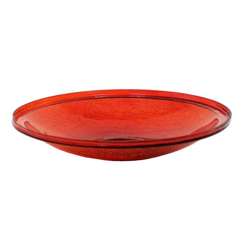 14 Inch Red Crackle Glass Bowl Only