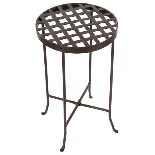 Wrought Iron Flowers Plant Stand III