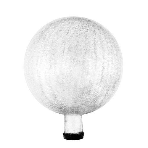 10 Inch Gazing Globe, Silver, Crackle