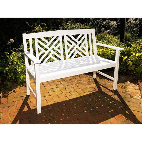Fretwork White Bench