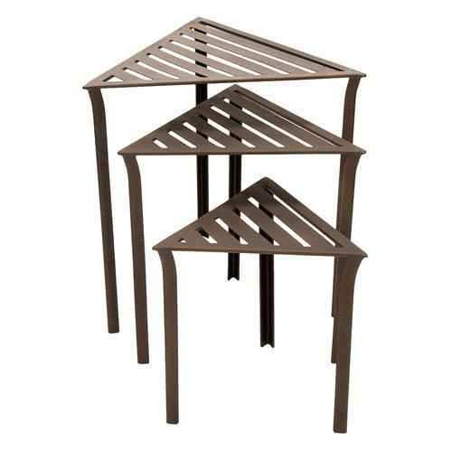 Bronze Triangular Nesting Tables, Set of Three