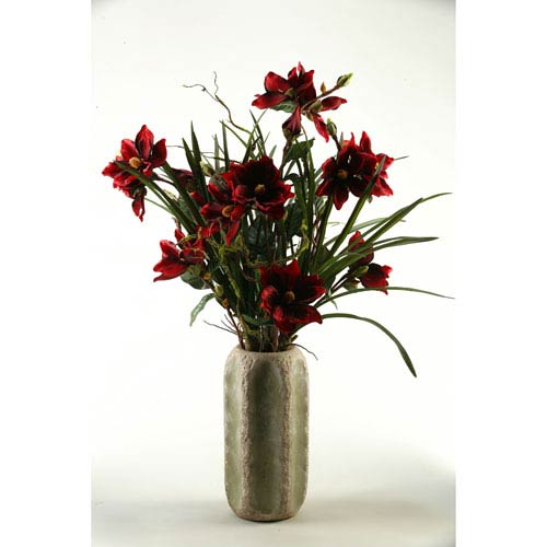 Red Magnolia Branches in Ceramic Cathedral Vase