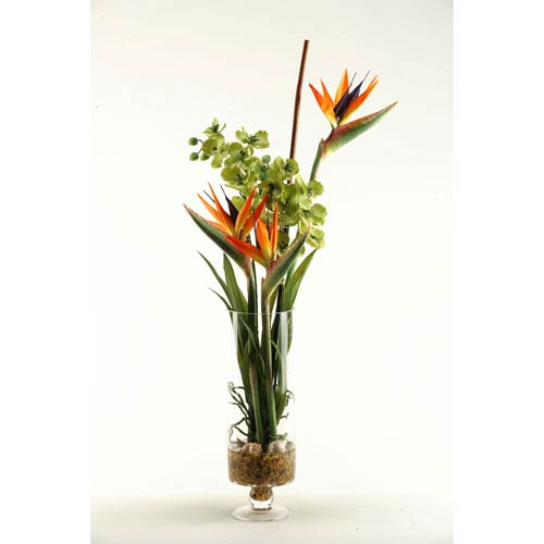 D W Silks Natural Touch Bird Of Paradise With Green Vanda Orchids