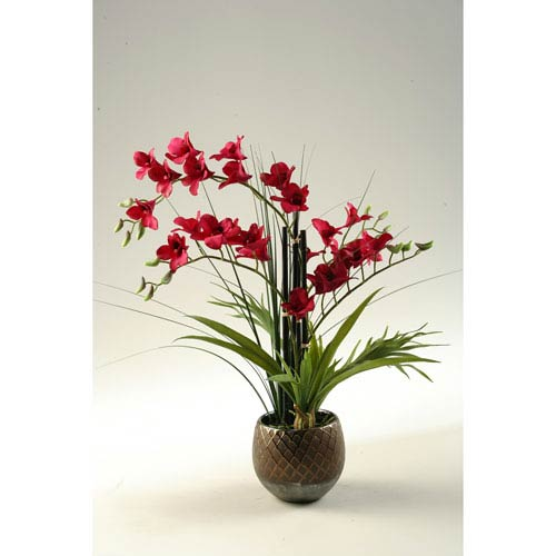 Red Orchids in Round Ceramic Planter