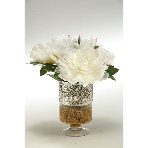 D W Silks Cream And Pink Peonies In Glass Pedestall Vase With