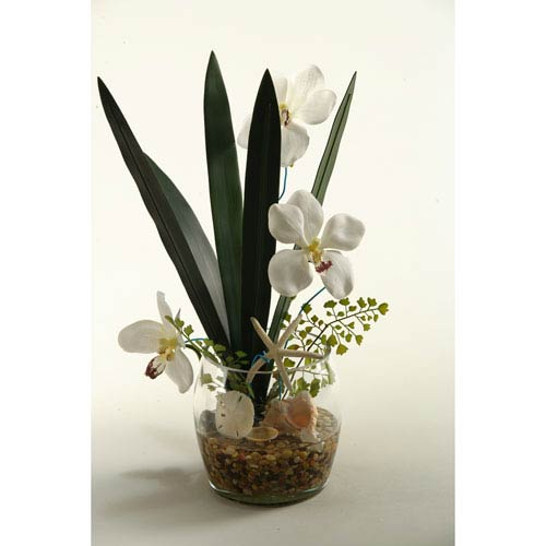 D W Silks White Vanda Orchids With Foliage And Fern In Glass Vase