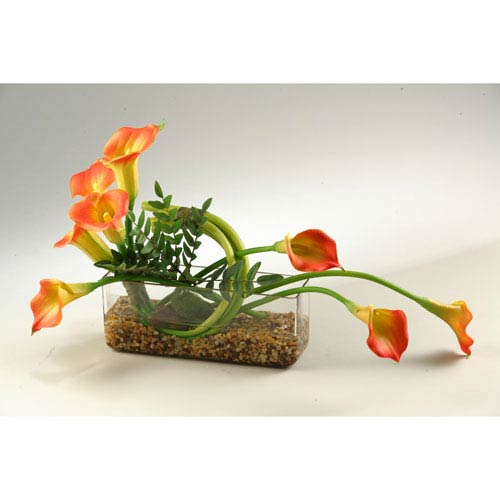 D & W Silks Orange Natural Touch Calla Lilies in Rectangle Glass Vase