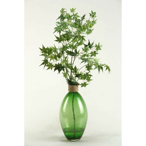 D W Silks Japanese Maple Branches In Green Glass Vase 161008