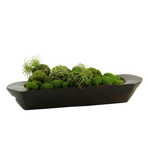 Assorted Moss Balls in Oblong Dough Bowl