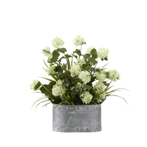 D & W Silks Snowball Branches with Grass in Oval Metal Planter
