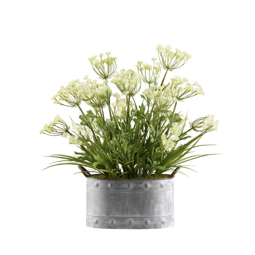 D & W Silks Queen Annes Lace and Grass in Oval Metal Planter