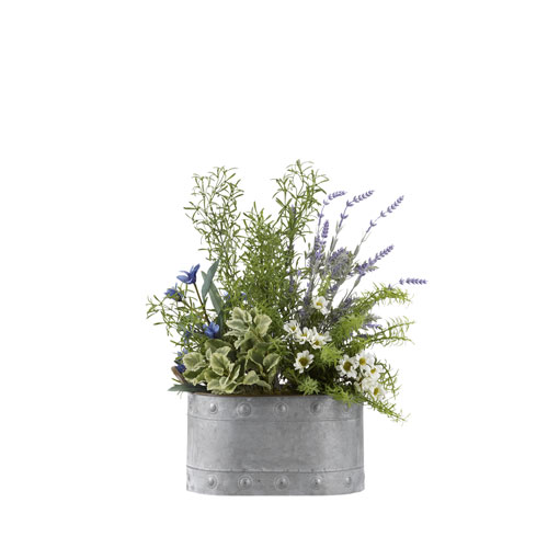 D & W Silks Lavender, Wild Asparagus, Mint and Rosemary in Oval Metal Planter