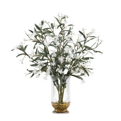 White Wild Flowers in Glass Hurricane Vase