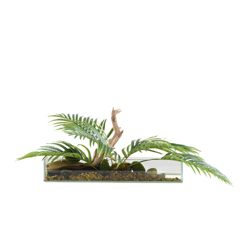 Hawaiian Palm Fronds in Long Rectangle Glass