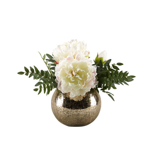 Large White Peonies in Rose Gold Glass Bowl