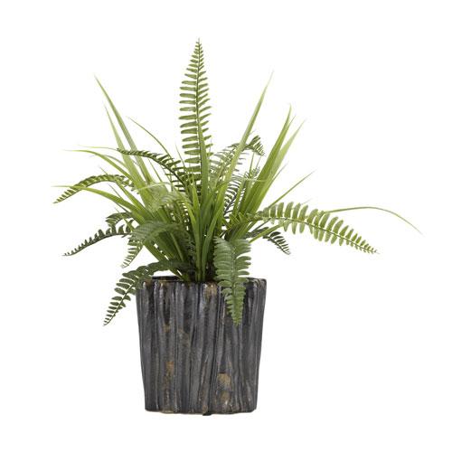D & W Silks Boston Fern and Wild Grass in Oval Ceramic Planter