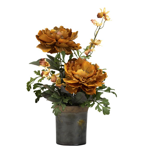 D & W Silks Caramel Brown Peony in Rustic Ceramic Planter