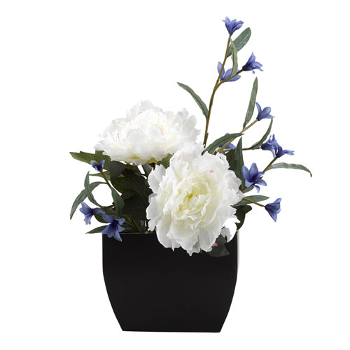 Cream Peony with Blue Wild Flowers in Rectangle Metal Planter