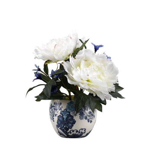 D & W Silks Cream Peonies in Blue and White Ceramic Planter with Floral Design