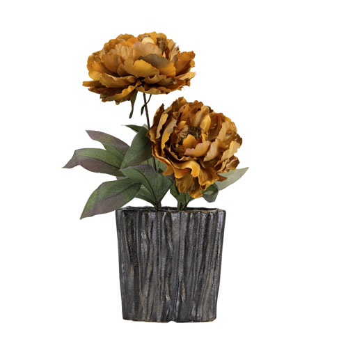 D & W Silks Caramel Brown Peonies in Oval Ceramic Planter