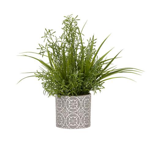 D & W Silks Wild Asparagus and Grass in Round Cement Planter