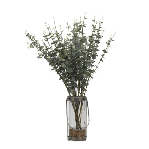 D W Silks Eucalyptus Branches In Glass Vase With Metal Frame And