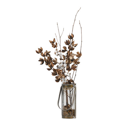 D W Silks Cotton Branches In Glass Vase With Metal Frame And