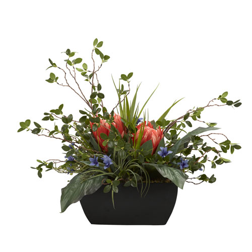 D & W Silks Red King protea with Mixed Foliage in Metal Planter