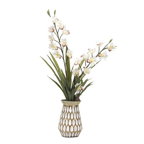 Cream Cymbidium Orchids in Gold Glass Vase