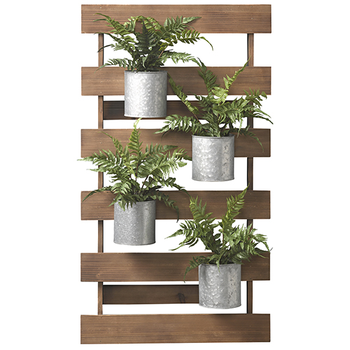tin home decor.htm d   w silks wooden slat wall with leather fern in tin cans 184018  wooden slat wall with leather fern