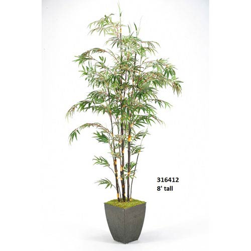 D & W Silks 8 Ft. Bamboo Tree in Square Metal Planter