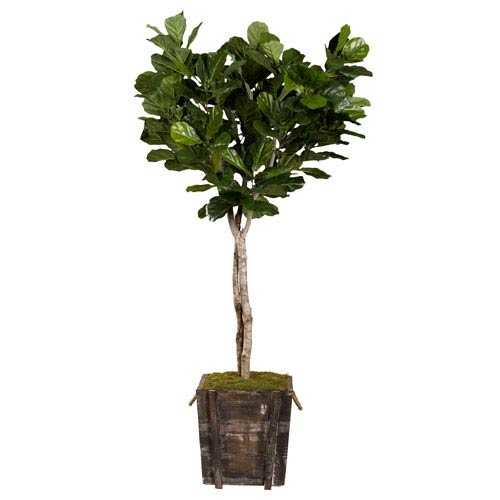 D & W Silks 7 Ft. Fiddle Leaf Fig Tree in Rustic Wooden Planter