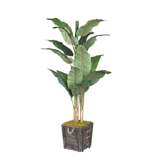 D & W Silks Banana Tree in Rustic Wooden Planter Box with Rope Handles
