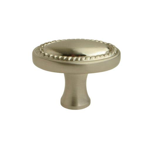 Satin Nickel 1.25-Inch Oval Roped Knob