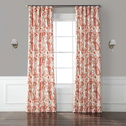 Edina Rust 84 x 50-Inch Printed Cotton Curtain Single Panel