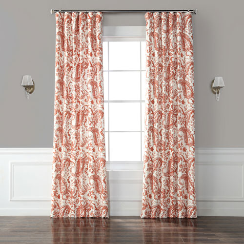 Edina Rust 96 x 50-Inch Printed Cotton Curtain Single Panel