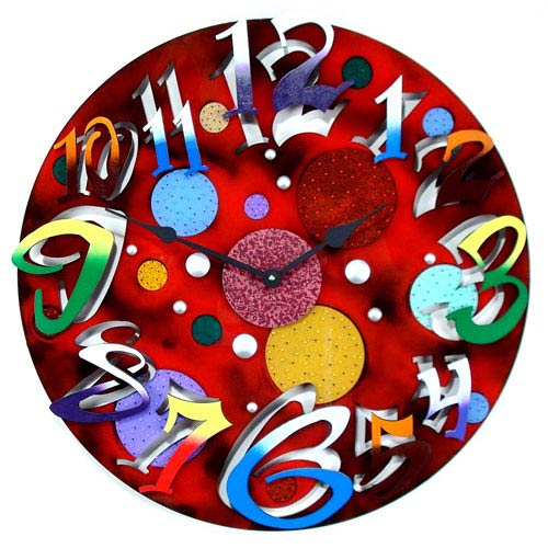 Big Time Modern Red Wall Clock by David Scherer