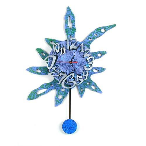 Blue Flower Wall Clock by David Scherer
