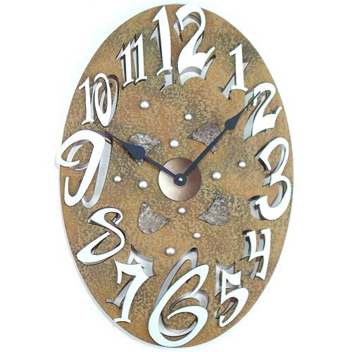 Small Oval Stone Wall Clock by David Scherer