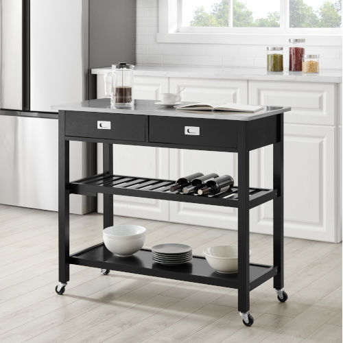 Chloe Black 42-Inch Kitchen Cart