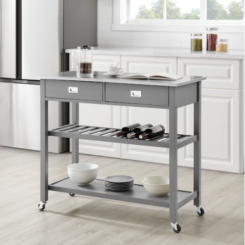 Chloe Gray 42-Inch Kitchen Cart