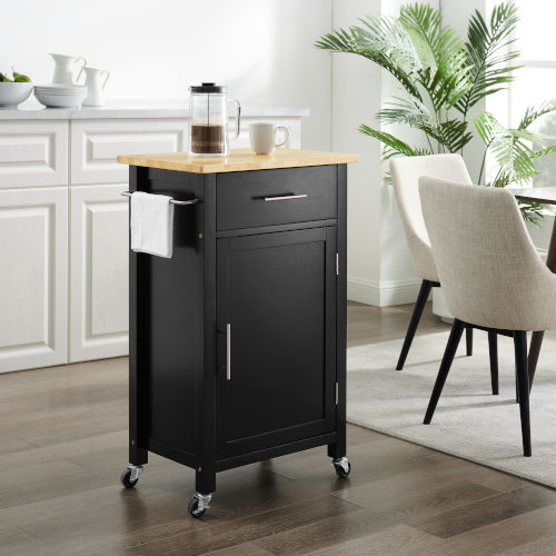Savannah Black Wood Top Kitchen Cart