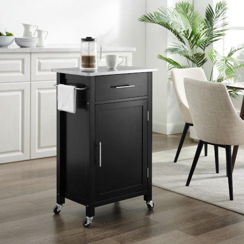 Savannah Black 22-Inch Stainless Steel Top Kitchen Cart
