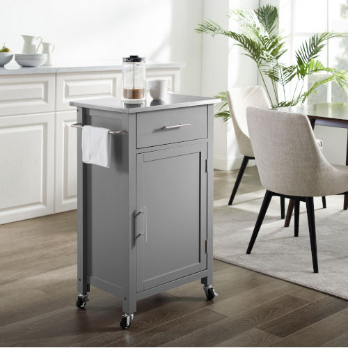 Savannah Gray 22-Inch Stainless Steel Top Kitchen Cart