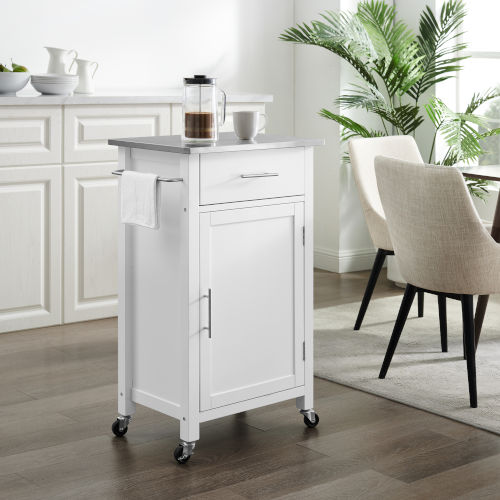 Savannah White Stainless Steel Top Kitchen Cart