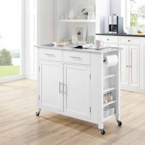 Savannah White 42-Inch Stainless Steel Top Kitchen Cart